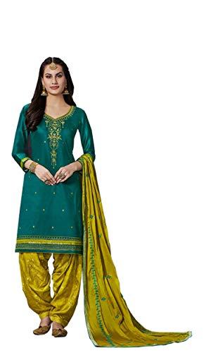 Akalors Jam Silk Salwar Kameez Women Embroidered Patiyala Suit (Green, 38) Patiala Suit