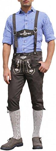 Trachten Kniebundhose Oktoberfest Jeans Hose kostüme mit Hosenträgern Braun, Größe:46 (Traditionelle Kostüme Aus Deutschland)