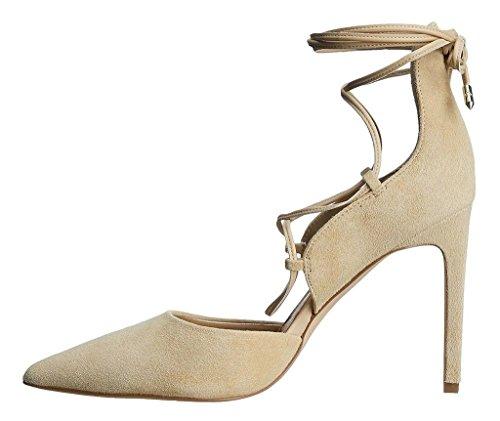 Kolnoo 100mm Damen D'Orsay Pumps Hoch Absatz Knöchelriemchen Fesselriemen Schuhe Nude