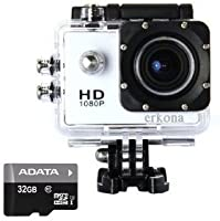 Erkona 1080P Waterproof Action Camera Camcorder DV and 32gb microSD included...Sports Camera 12MP HD DVR Camcorder + Mounting Accessories Kit (White)