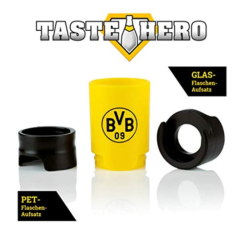 Taste Hero BVB Flaschenaufsatz für Bier 1er Set   Borussia Dortmund Fan Bier-Aufbereiter, wie frisch gezapft, macht jede Bierflasche zum Zapfhahn   Für Glas- und PET-Flaschen, spülmaschinengeeignet