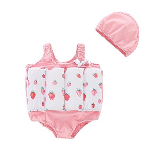 OMSLIFE Sports nautiques Combinaison Flottante Protection solaire UV Maillot de Bain Float Costume pour bébé fille et garçon Avec Flotteurs Ajustables (Rose 2, 80-90cm ( 1-2 ans))
