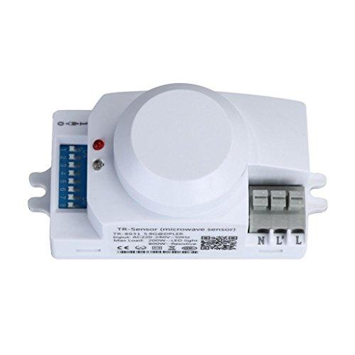 Wokee HF Sensor, Bewegungsmelder 360°,Wechselstrom 220V 5.8GHz Mikrowellenbewegungs-Bewegungs-Detektor-Sensor-Schalter für Licht (Bewegungs-sensors 220v)