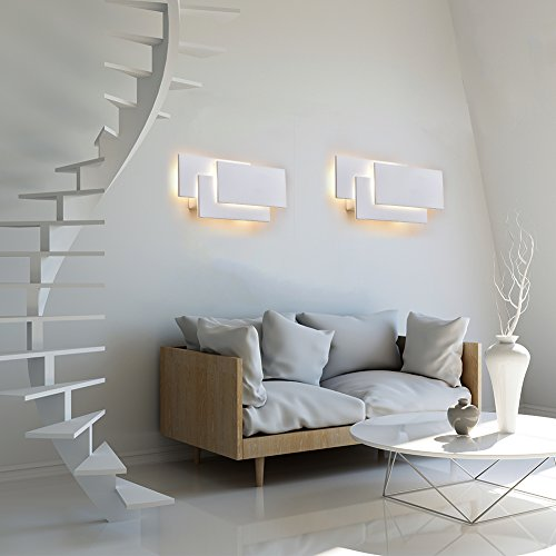 K-bright illuminazione da parete a led, 12w, ip20 illuminazione impermeabile in alluminio illuminazione da bagno, 10.2x4.9x2.2inches, lampada di design moderna, bianco caldo, bianco