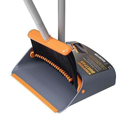 TooToo Besen- und Kehrschaufel-Set, Kehrmaschine und Kehrschaufel Combo mit 137cm langem ausziehbarem Griff für die Haushaltsreinigung (Orange) Besen-set