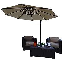 Parasol Sombrilla Jardin / Terraza / Patio | Beige / Arena | Ø 300 cm | Redondo | SORARA - CHEPRI | Poliéster de 180 g/m² (UV 50+) | Mecanismo Con Manivela | Incl. Base