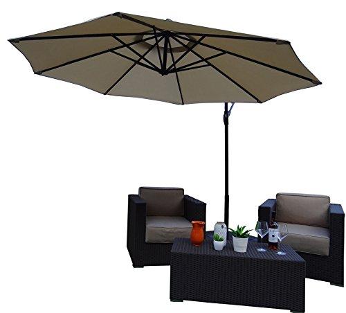 Sonnenschirm Ampelschirm | Beige / Sand | Ø 300 cm / 3m | Rund | SORARA - CHEPRI | Polyester 180 g/m² (UV 50+)| Kurbel Mechanismus | Incl. Kreuzfuß for Parasol