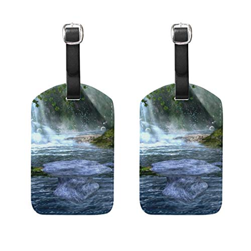 2 PCS Kofferanhänger Waterfall Rock Mountain Suitcase Labels Travel Accessories -
