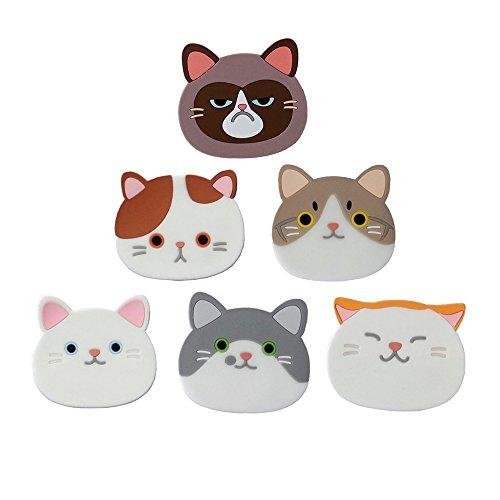 6 Stück Katze Untersetzer , Nette Katzen Schalen Matten Silikon Gummi Untersetzer für Wein, Glas, Tee -