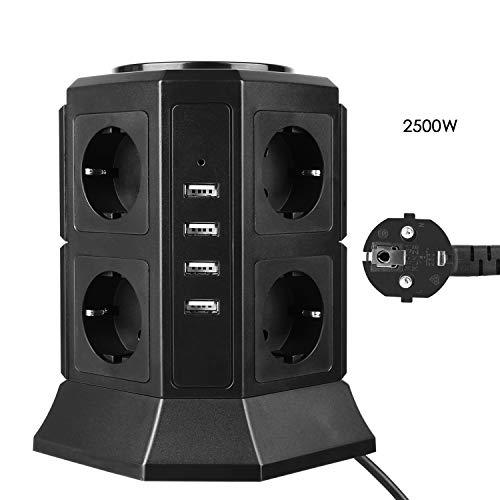 MVPOWER Steckdosenleiste, Mehrfachsteckdose mit 8 Fach Steckdosenturm (2500W/10A) und 4 USB Ladeanschlüsse (5V/4,5 A), Kabelänge: 2m, inkl. Überspannungsschutz und Kurzschlussschutz