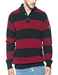 Spykar Mens Red And Navy Regular Fit Mid Rise Sweaters (X-Large)