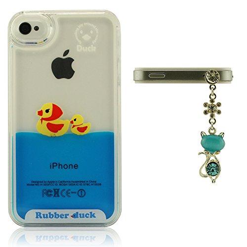 Belle conception pour iPhone 4 4S Dur Coque, Transparent Case, Liquide Style Housse de Protection, Étui protecteur Résistant aux chocs, Beau Canard Flottant, Rubber Duck F