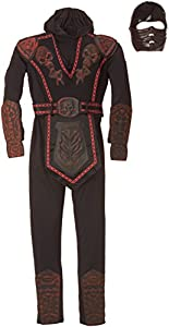 Disfraz de Ninja Rojo enmascarado para niño, infantil 8-10 años (Rubie