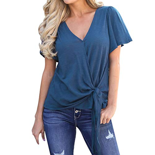 Kviklo Damen T-Shirt Kurzarm mit Schnürung geknotet vorne V-Ausschnitt lässiges T-Shirt(XL(42),Blau)