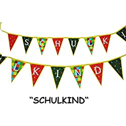 "Girlande "" Schulkind "" zum Schulanfang - Kinder Wimpelkette Party - Schuleinführung Schule Schulbeginn Fest Schulbeginn Deko"