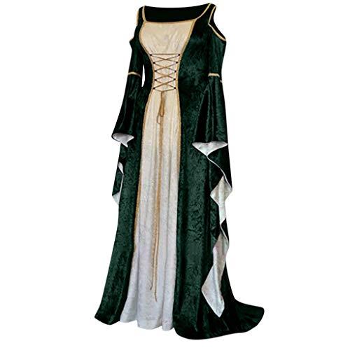 Und Tippen Kostüm Jazz Tanz - Amphia Damen Vintage Retro Kleid Mittelalter Prinzessin Gothic Langarm Maxi Kleider - Frauen Herbst Winter Gothic Retro Floral Print Ballkleider Kleider Kleid