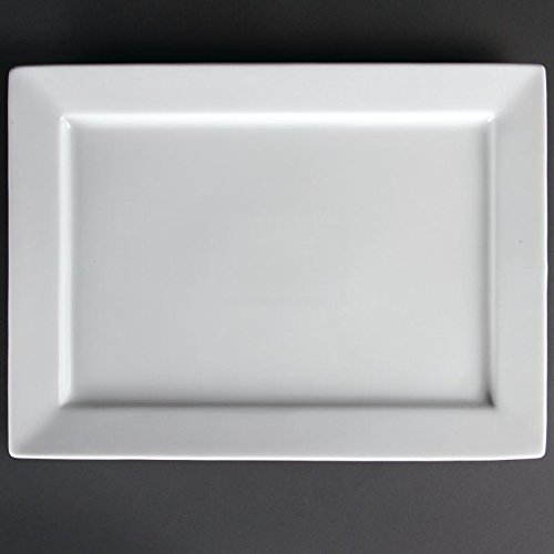 Plats rectangulaires à bord large 200 x 130mm Olympia 400(l) x 295(h)mm. Blanc. Vendu à l'unité.