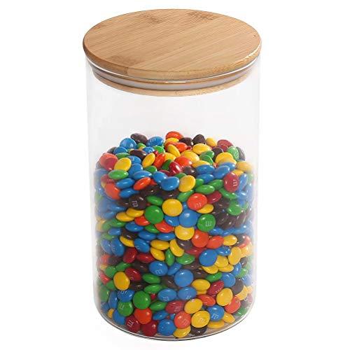 77L Glas Lagergefäß für Schokolade, 1850 ML (62.5 OZ), Glas FutterBehälter mit Luft engem Bambus Deckel, klarer Lebensmittel Speicher für Schokolade, Kaffee, Mehl, Süßigkeiten und mehr