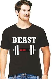 c6eac3d27 Hangout Hub Cotton Mens Tshirts Beast Printed Black Color for Mens-XXL