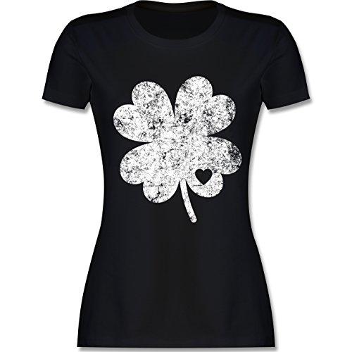 intage Kleeblatt mit Herz - L - Schwarz - L191 - Damen Tshirt und Frauen T-Shirt ()