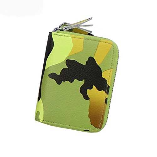 Designer Cardstock (MOXO Leather Camouflage Card Wallet Holder Double Zipper RFID Blocking Business Card Credit Card Travel Card Wallet Pouch Car Key Case Wallet Men Women(Yellow))