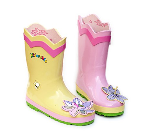 Kidorable Lotus Flower Yellow and Pink Natural Rubber Rain Boots (Toddler)