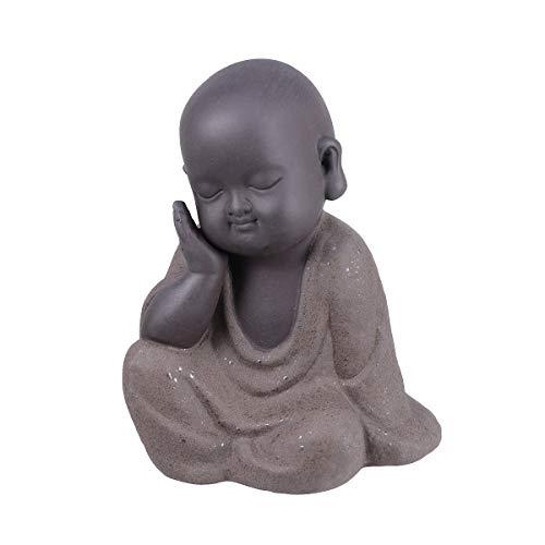 UPKOCH Keramik Mönch Ornament Handwerk Weise Buddha Statue Figur Tee Haustier für Zen Garten Home Office Auto Decor Feng Shui Sammeln Kunst -
