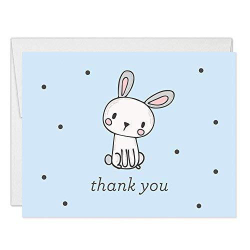 en Bunny Kaninchen Thank You Karten Blanko Gefaltet mit Umschläge (25Stück) Baby Dusche durch 1. Geburtstag Kind Kinder Kids B 'Day Thank You Hervorragende Wert vt0013b ()