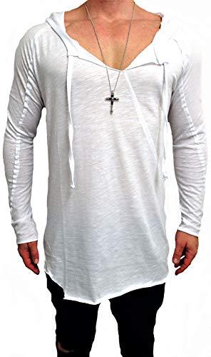 Oversize Kapuzen Longsleeve Shirt Deep Long-Shirt Herren Sweatshirt eiweiss NEU Sweat-Jacke schwarz Pullover langes m h Kapuzenpullover Pulli (M, Weiß) (Langer Mantel-muster)