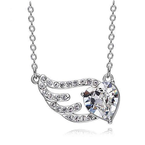 LXIANGP Halskette-Dame Halskette 925 Sterling Silber Halskette Flügel Herz Mix Anhänger Element Crystal Necklace