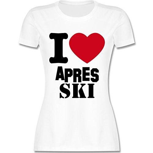 Après Ski - I Love Apres Ski - tailliertes Premium T-Shirt mit Rundhalsausschnitt für Damen Weiß