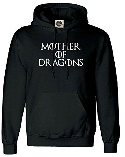 MOTHER OF DRAGONS Unisex Hoodie - GOT Game of Thrones Inspired Khaleesi Dragons Targaryen (XSmall, Black)
