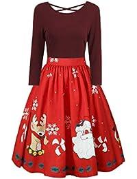 Yying Talla Grande Impresión de Navidad Vestido Cruzado de Criss Vestido de Fiesta de impresión de