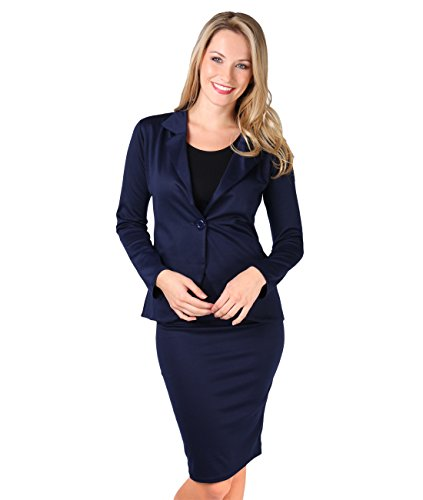 KRISP® Damen Bleistiftrock Leder Wet Look oder Stoff Marineblau (5573)