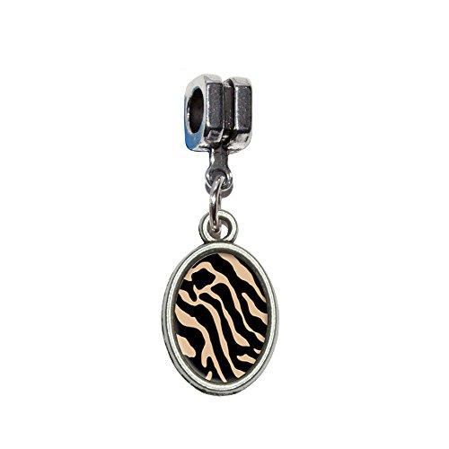 Zebra Print Tan Italienisches europäischen Euro-Stil Armband Charm Bead–für Pandora, Biagi, Troll,, Chamilla,, andere