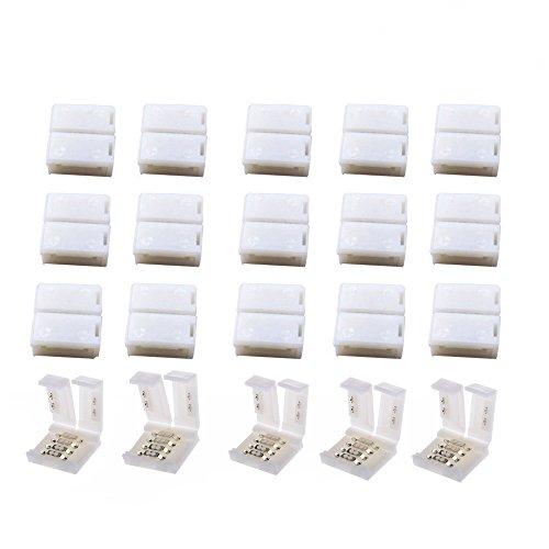 20 pcs 4 poligen LED Verbinder LED Strip Connector 10mm Breit LED Stecker,LED Schnellverbinder, für SMD 5050 RGB LED Streifen Stripes (20 PCS -RGB-Anschlüsse)