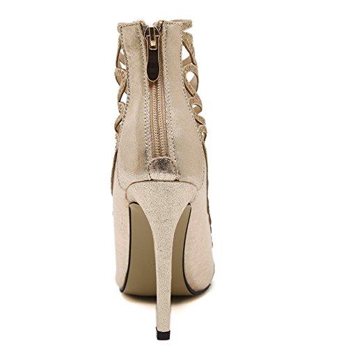GS~LY Fine avec talons hauts or pointus chaussures bottes cool de pochoir strass Gold