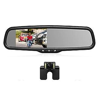 AUTO-VOX T2 Rückfahrkamera Rückspiegel Set, IP68 wasserdicht Autokamera mit 4.3
