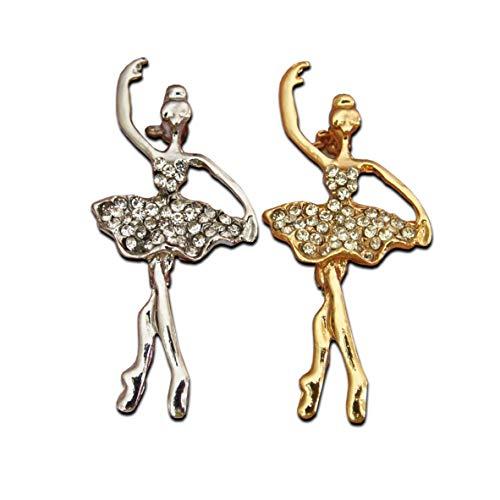Seraphis Ballet Brooch Conjunto de Dos broches de Plata y Oro para Bailarinas con Broche para Bailarinas...