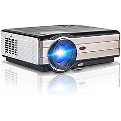 Proyector de video LED, proyector HD Cinema Home Theater 4000 lúmenes, proyector multimedia inteligente con altavoz integrado y cable HDMI, proyector de entretenimiento para USB HDMI PC portátil Smartphone PS4(Manual en inglés y Enchufe del Reino Unido)