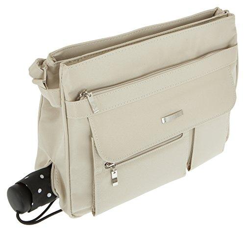 Handtasche ALESSANDRO VALENCIA Schultertasche Damentasche Microfaser Tasche 3054 + Schlüßeletui (Blue-Blau) Cream-Beige