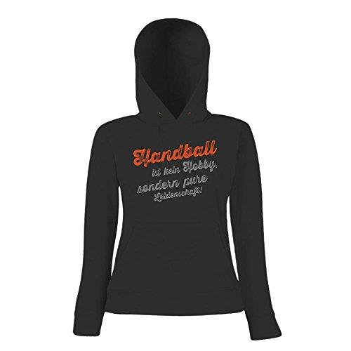 Handball Hoody | Handball-Hoody | Hobby | Leidenschaft | Frauen | Kapuzenpullover Schwarz