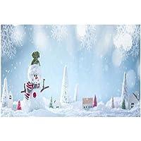 Uonlytech Navidad Fotografía Telón de Fondo Navidad Tema Invierno Muñeco de Nieve Paño pictórico Fotografía Personalizada Fondo Estudio Prop 5x3ft 5x3ft