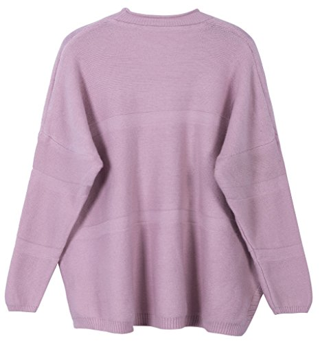 Vogueearth Femme's Longue Manche Knit Crew Neck Loose Short Top Pullover Sweater Chandail Tricots Rose