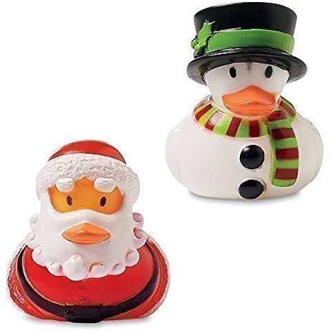 Paquete de 2 PATOS DE GOMA Plástico Navideños - Regalo de Media de Pato de Baño de Santa & Hombre de Nieve