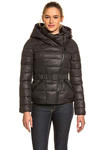 khujo Damen Damen Jacke warm Winter gefüttert Kapuze Tailliert Lederoptik