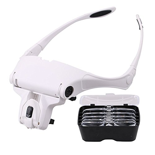 LED Licht Stirnband Lupe, PULNDA Lupenbrille LED Kopfband Lupen Stirnband Brille Lupen Verstellbare mit 5 Linsen 1.0X, 1.5X, 2.0X, 2.5X, 3.5X für das Lesen, Schmuck Lupe, Uhr, elektronische Reparatur