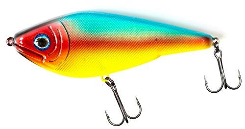 Fladen Fishing - Esche Predator Jerk (25 g - 9 cm e 50 g - 12 cm), esche con sistema di trasferimento laterale del peso e ad affondamento lento, ideali per pesci predatori, Parrot, 50g / 12cm