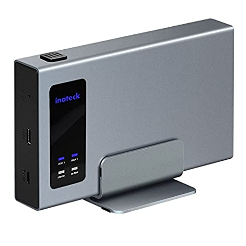 Inateck Aluminum USB-C RAID HDD Enclosure Dual Bay with a Portable Stand for 2x 2.5