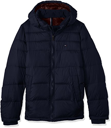 Tommy Hilfiger Men's Big Insulated Midlength Quilted Puffer Jacket with Fixed Hood, Midnight, 2X-Large Tall - Tommy Hilfiger Quilted Coat